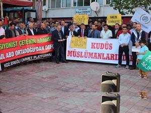 İsrail zulmüne karşı protesto eylemi yapıldı