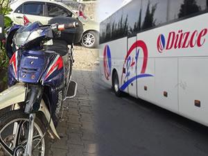 Otobüs ile motosikletin çarpıştığı kazada, motosiklet sürücüsü yaralandı