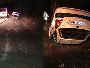 Kontrolden çıkarak takla atan otomobildeki bir kişi yaralandı