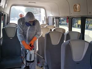 İşçi ve öğrenci servislerinde dezenfeksiyon yapıldı