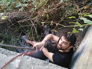 Köpeğini kurtarmak isterken kendisi uçurumda mahsur kaldı