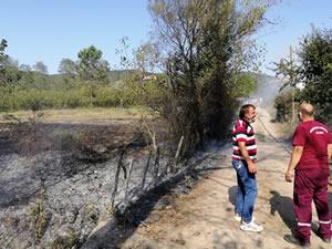 Büyüyen anız yangınına Orman İşletme ekipleri müdahale etti